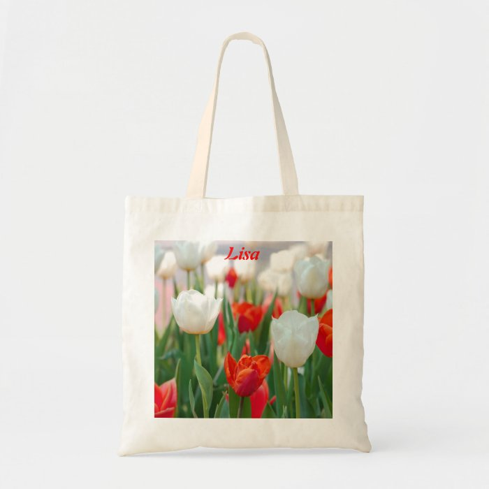 Red Tulip Flower Tote Bag