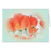 red tulip flowers in light blue thank you cards