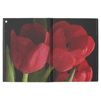 Red Tulip Flowers on Black iPad Pro Case