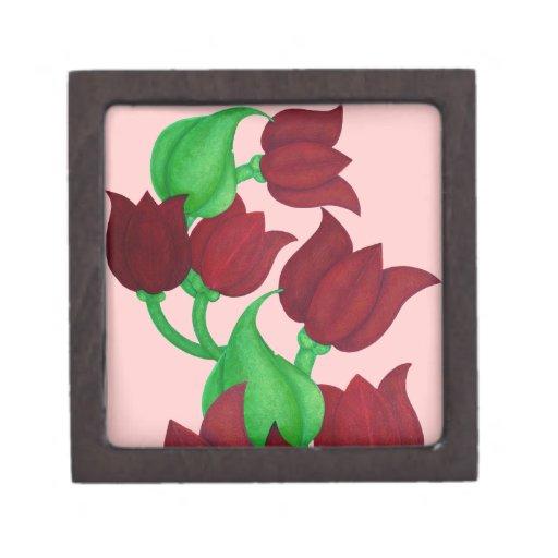 Red Tulip Flowers Original art E.L.D. Premium Trinket Boxes