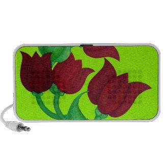 Red Tulip Flowers Original art E L D Travelling Speakers