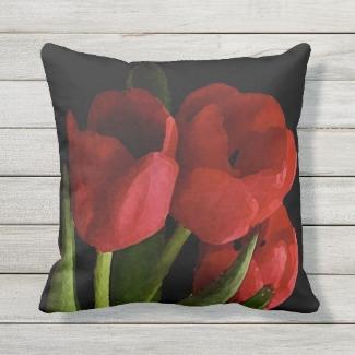 Red Tulip Garden Flowers Outdoor Pillow