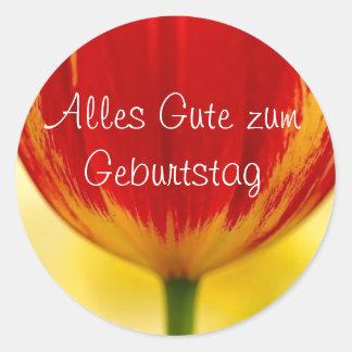 Red Tulip German Birthday Greeting Classic Round Sticker