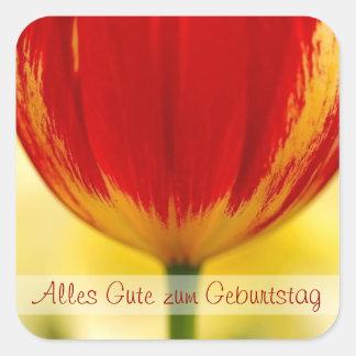 Red Tulip German Birthday Greeting Square Sticker