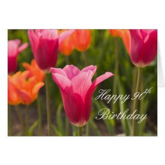 Red Tulip Happy 90th Birthday 5x7 Greeting Card