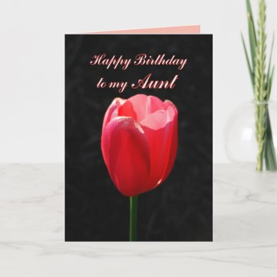 Red Tulip Happy Birthday Aunt Cards by catherinesherman