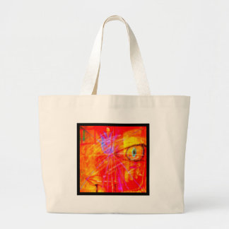 Red Tulip Lady Abstract Art bright red stunning. Large Tote Bag