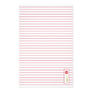 Red Tulip Lined Letter Writing Paper