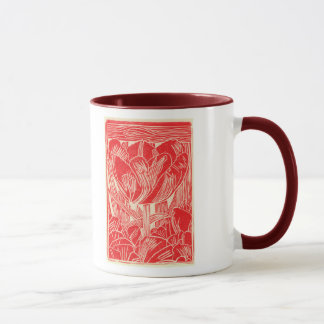 Red Tulip Linocut Coffee Mug