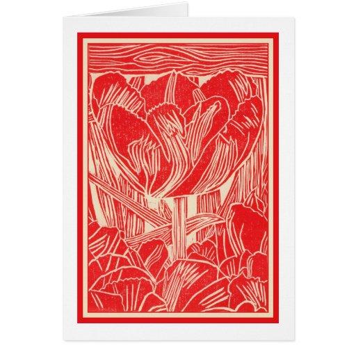 Red Tulip Linocut Greeting Card