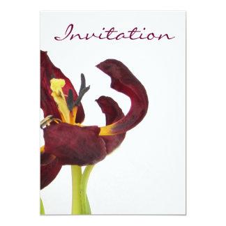 Red Tulip Losing its Petals Invitation Custom Invites