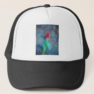 Red Tulip on Blue Grey Slate Trucker Hat