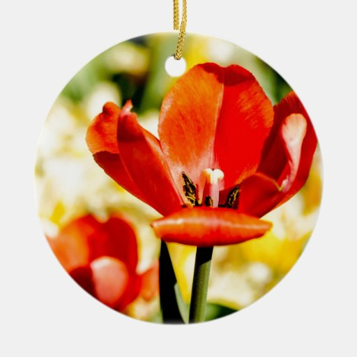 Red Tulip Open Double-Sided Ceramic Round Christmas Ornament
