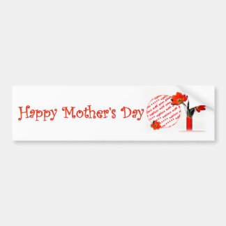 Red Tulip Photo Frame for a Happy Mothers Day Car Bumper Sticker