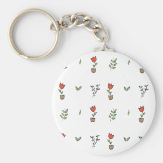 Red Tulip Potted Plant Pattern Keychain