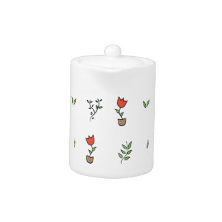 Red Tulip Potted Plant Pattern Teapot