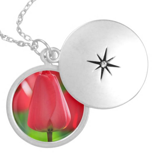 Red Tulip Round Locket Necklace