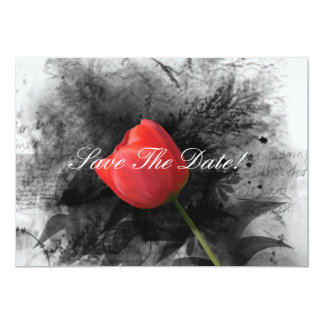 Red Tulip Save The Date Card