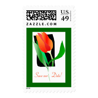 Red Tulip Save the Date Postage
