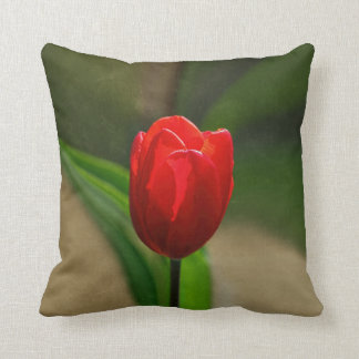 Red Tulip Spring Flower Throw Pillow