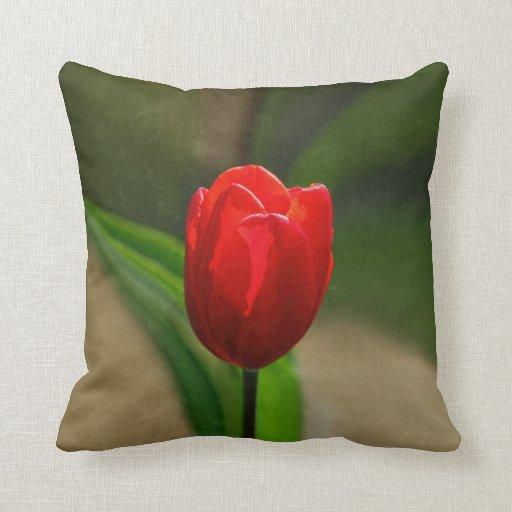 Red Tulip Spring Flower Throw Pillows
