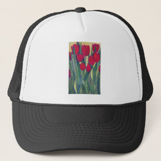 red tulip trucker hat