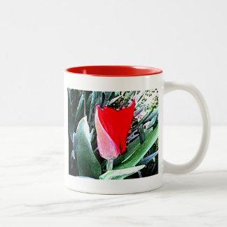 Red Tulip Two-Tone Coffee Mug