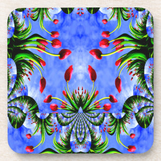 Red Tulip Whimsy Cute Floral Design Coaster