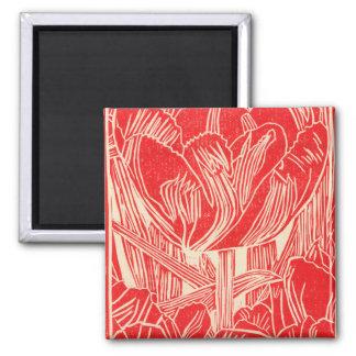Red TulipLinocut Magnet