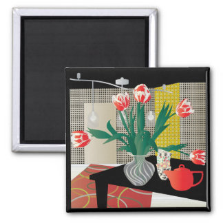 Red Tulips 2 Inch Square Magnet