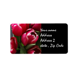 Red Tulips Address Label