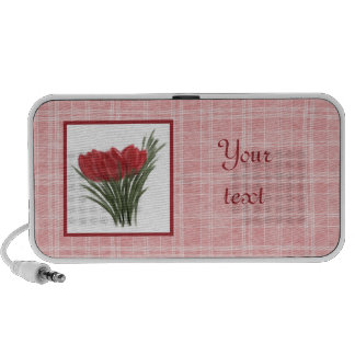Red Tulips and Pink Plaid Doodle Speaker