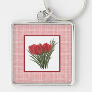 Red Tulips and Pink Plaid Keychain