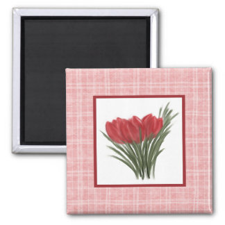 Red Tulips and Pink Plaid Magnet