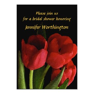 """Red Tulips Bridal Shower 5"""" X 7"""" Invitation Card"""