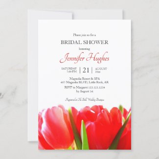 Red Tulips Bridal Shower Invitation