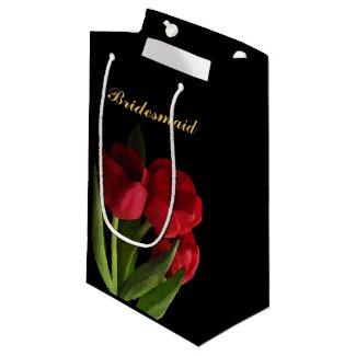 Red Tulips Bridesmaid Small Gift Bag