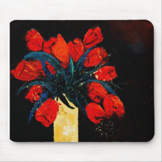 red tulips bunch mouse pad