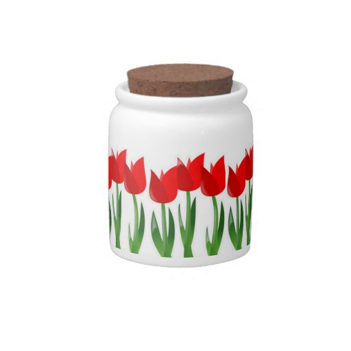 Red Tulips Candy Jar