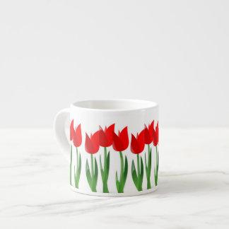 Red Tulips Ceramic Espresso Mug
