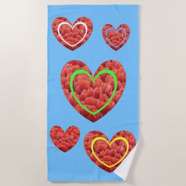 Beach Themed Red Tulips Colored Hearts Beach Towel