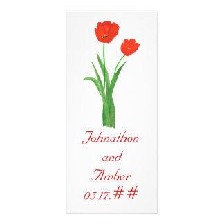 Red Tulips, custom menu cards for weddings