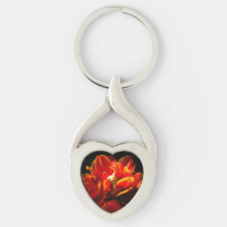 Red tulips dark background Silver-Colored Heart-Shaped metal keychain