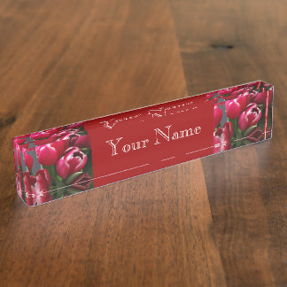 Red Tulips Desk Name Plates