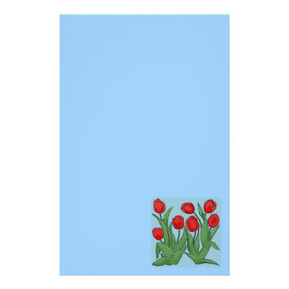 Red Tulips Digital Painting Stationery