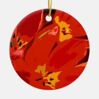 RED TULIPS Double-Sided CERAMIC ROUND CHRISTMAS ORNAMENT