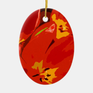 RED TULIPS Double-Sided OVAL CERAMIC CHRISTMAS ORNAMENT