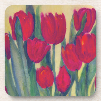 Red Tulips Drink Coaster