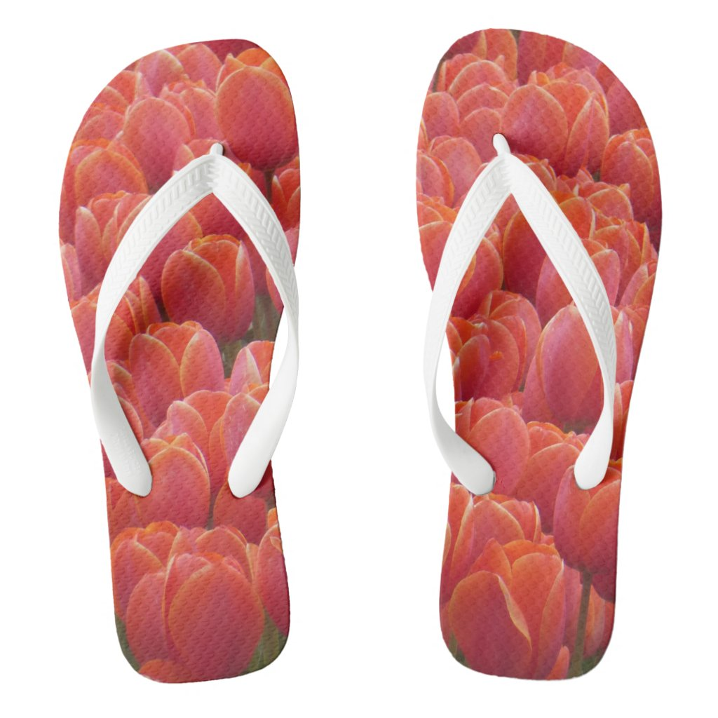 Red Tulips Field Flip Flops