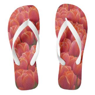 Red Tulips Field Flip Flops